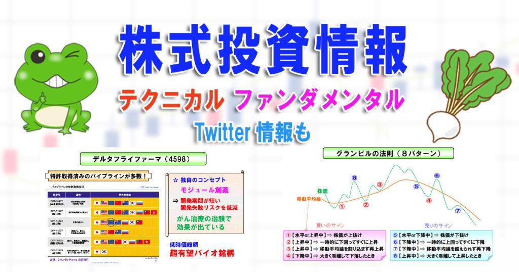 株式トレード情報:テクニカルとファンダメンタル両建て【株かえる】